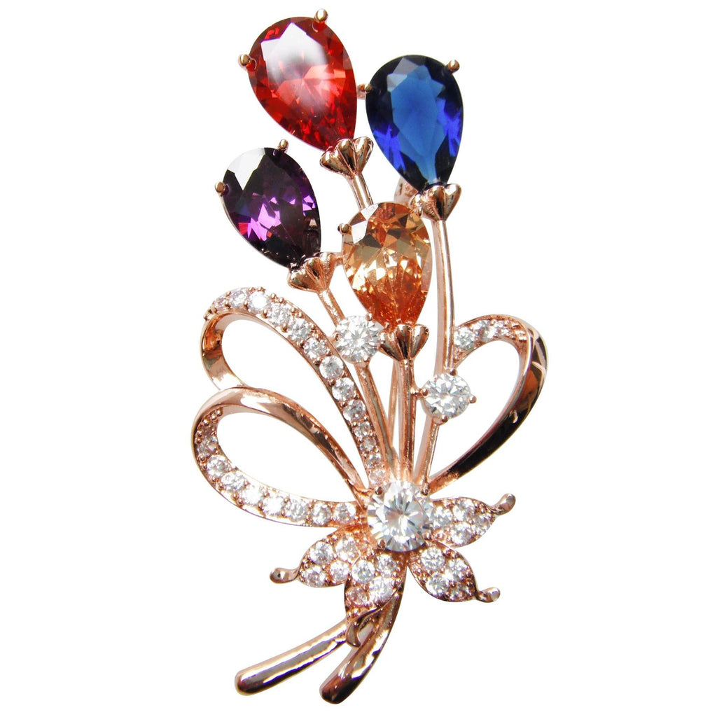 18k Gold Plated Colorful Cubic Zicon Austrian Crystal Flower Az7198b Brooch Pin