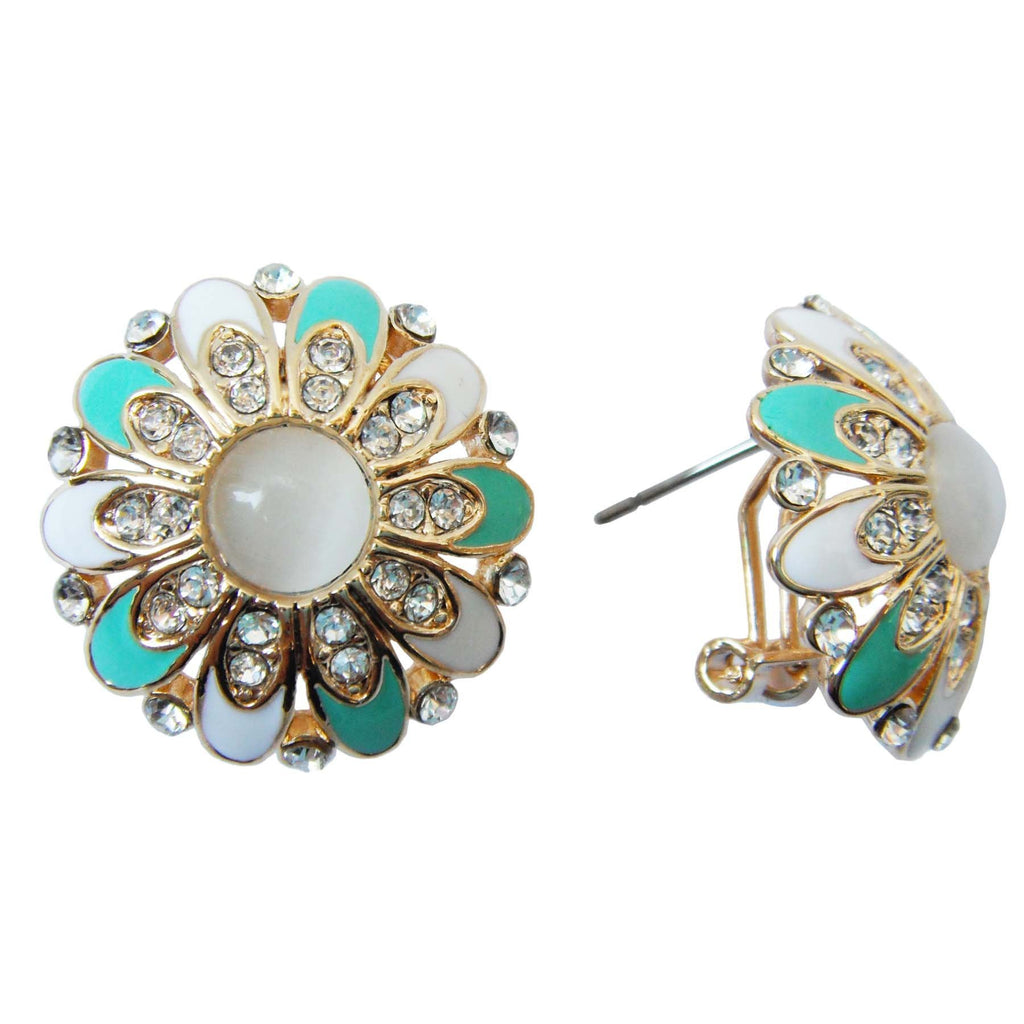 18k Gold Plated Flower Green Enamel Circle Opal Az1446o Omega Earrings