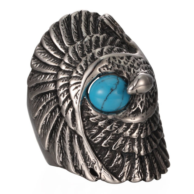 Men's Vintage Stainless Steel Gothic Tribal Biker Large Eagle With Turquoise Ring Band Silver Black Blue