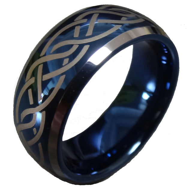 Men Women 8mm Blue Tungsten Carbide Wedding Ring Laser Celtic Knot Engagement Promise Band Comfort Fit - InnovatoDesign