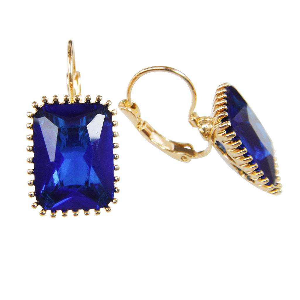 18k Gold Plated Crystal Square Blue Zircon Round Az1237h Leverback Hoop Earrings