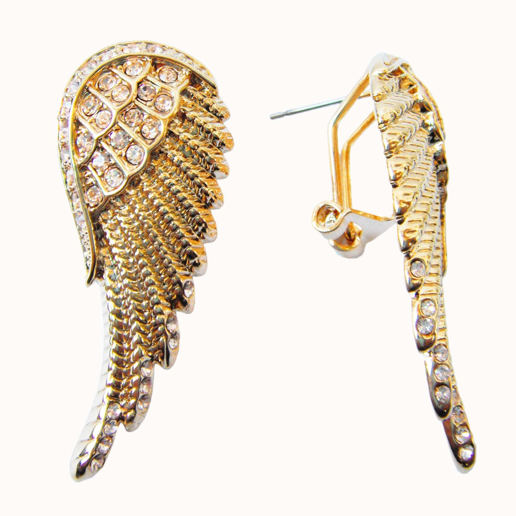 18k Gold Plated Bird Wings Champagne Crystal Omega Az1774o Earrings