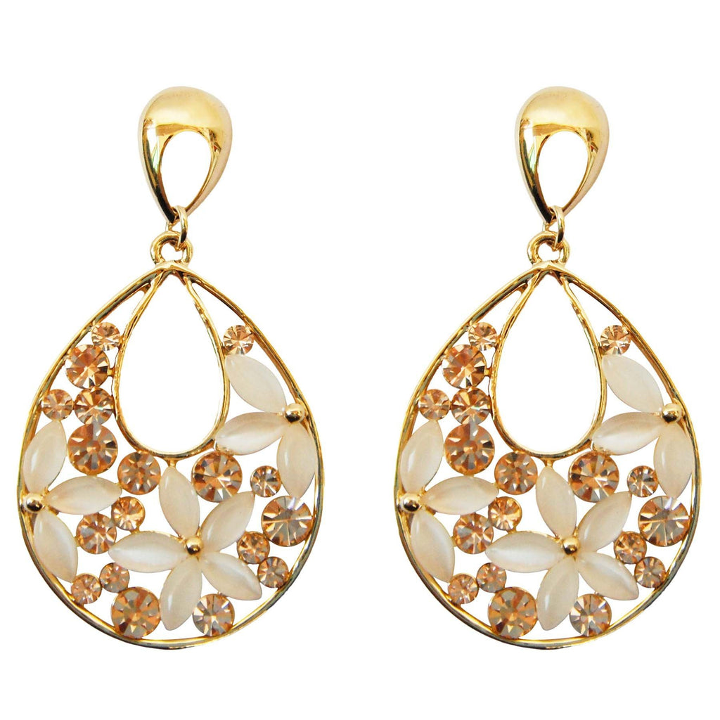 18k Gold Plated Champagne Crystal White Opal Water Drop Az2581d Drop Dangle Earrings