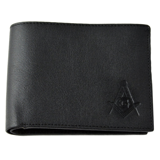 The Masonic Exchange Black Matte Leather Wallet for the Freemason