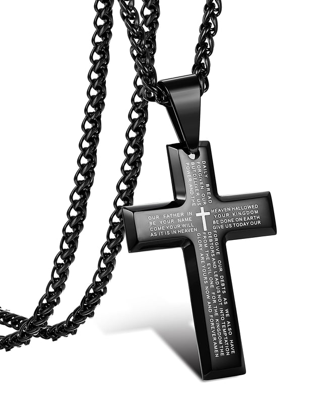 Jewelry Men's Stainless Steel Simple Black Cross Pendant Lord's Prayer Necklace 22 24 30 Inch