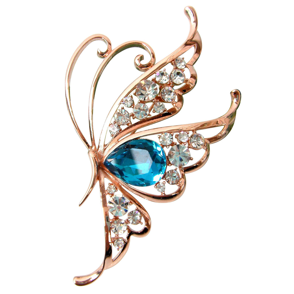 18k Gold Plated Blue Cubic Zicon Austrian Crystal Butterfly Az7916b Brooch Pin