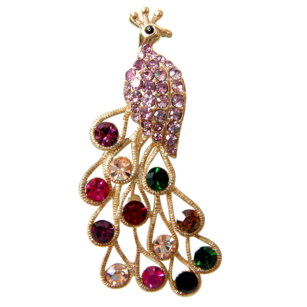 18k Gold Plated Colorful Purple Crystal Peacock Peahen Az7388b Brooch pin
