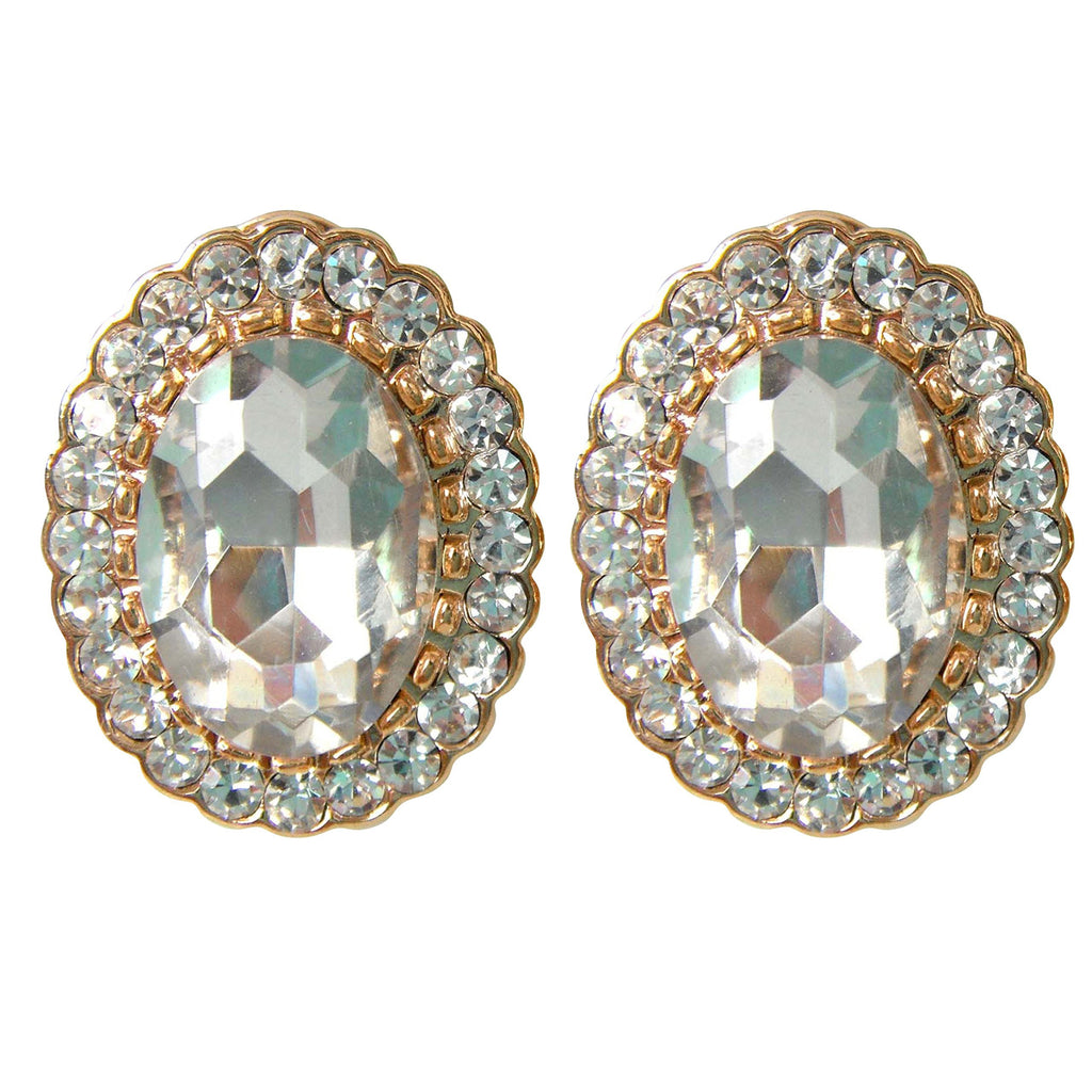 18k Gold Plated Oval Clear Zircon Crystal Omega Earrings