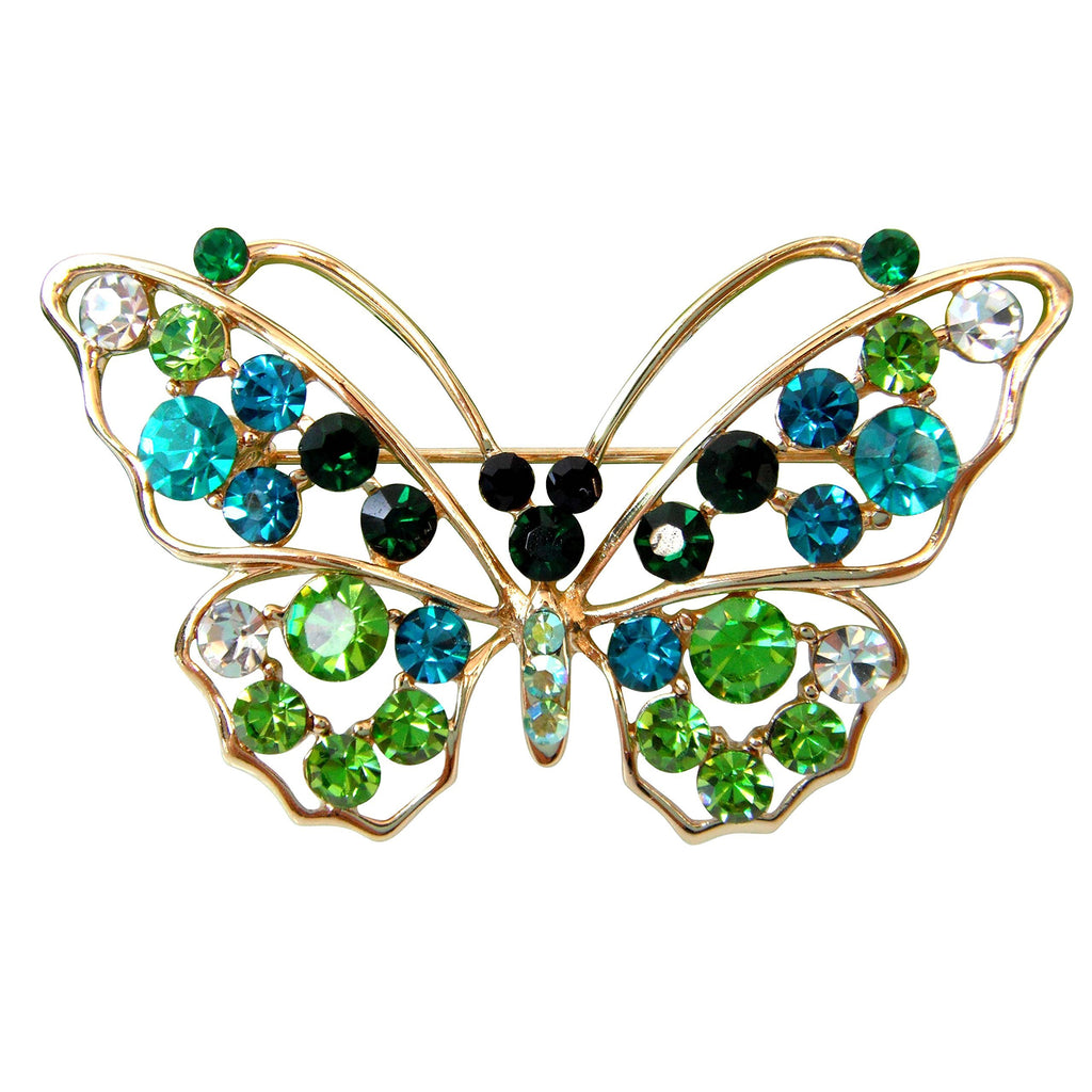 18k Gold Plated Green Crystal Flying Butterfly Az7340b Brooch Pin