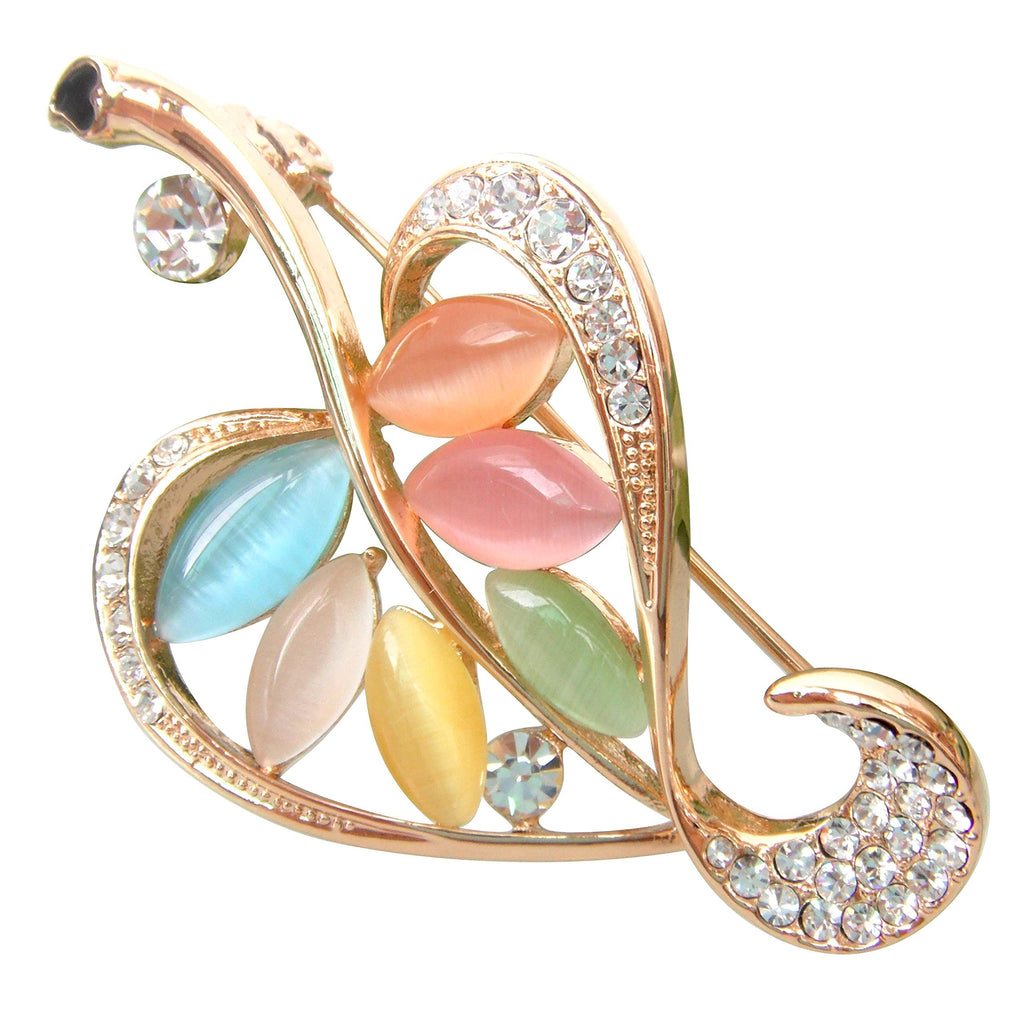 18k Gold Plated Colorful Opal Crystal Leaves Az7049b Brooch pin