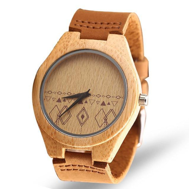 Vintage Hand Made Genuine Bamboo Wooden Watch for Men with Leather Strap