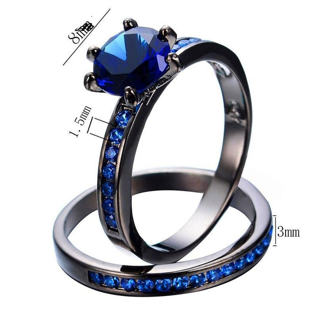 Jewelry Women's Lab Stone Blue Cubic Zirconia Black Gold Plated Ring Promise Engagement Wedding Womens Ring Set Size 6-10