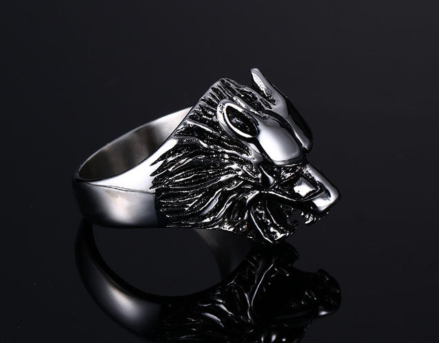 Wolf Head Rings For Men 316L Stainless Steel Rock Punk Rings Animal Rings Jewelry - InnovatoDesign