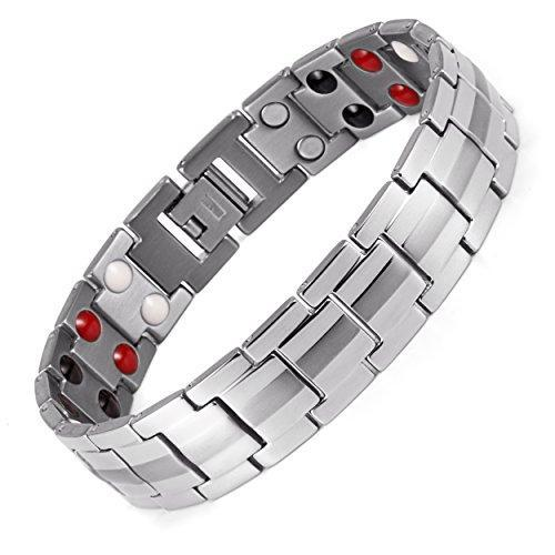 Double Strength 4 Element Titanium Magnetic Therapy Bracelet for Arthritis Pain Relief Adjustable