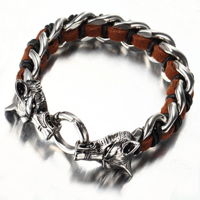 Leather Stainless Steel Bracelet for Men Cuff Braided Bangle Wolf Heads Bracelet - InnovatoDesign