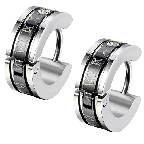 Men's Stainless Steel Engraved Roman Numerals Classic Polished Stud Hoop Huggie Earrings Gold Black Blue - InnovatoDesign