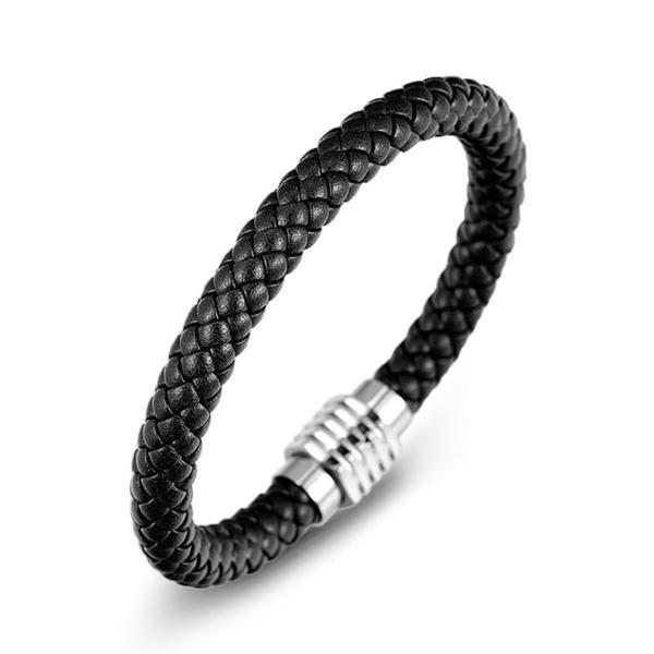 Black Leather Men Bracelet Stainless Steel Magnetic Clasp Rope Chain