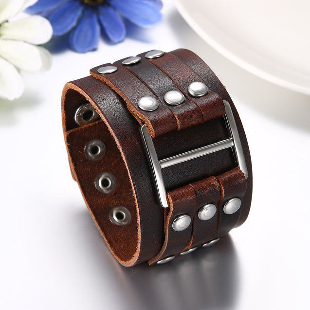 Men's Wide Alloy Genuine Leather Bracelet Bangle Cuff Brown Black Silver Tone Adjustable - InnovatoDesign