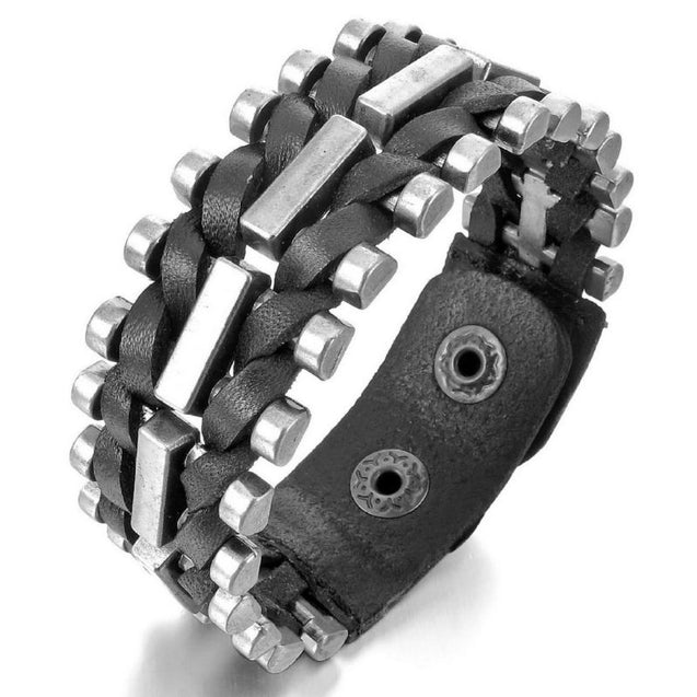 Punk Rock Biker Men's Alloy Black Tone Leather Bracelet Cuff Wristband Link Chain - InnovatoDesign