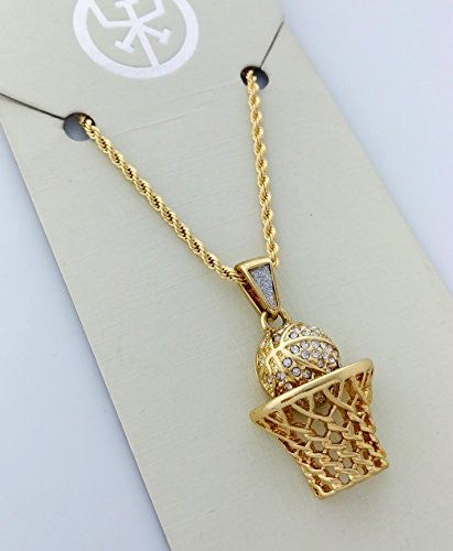 Men Gold Two Piece Basketball Box 23 Set Pendant Hip Hop Rope Chain - InnovatoDesign