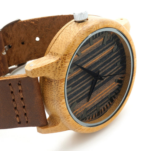 Luxury Bamboo Wooden Watch with Leather Band and Quartz Display - InnovatoDesign