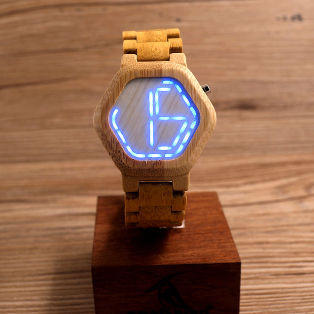 LED Display Natural Bamboo Wooden Wristwatch - InnovatoDesign