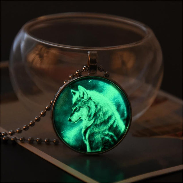 Hand Made Wolf Glow in The Dark Pendant, Necklace in 6 colors