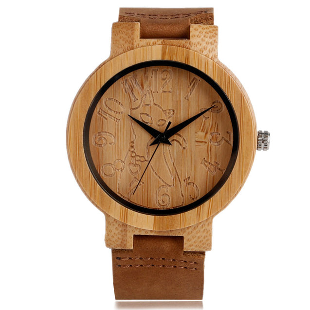 Lovely Hand Carved Wooden Watch for Ladies Leather Band