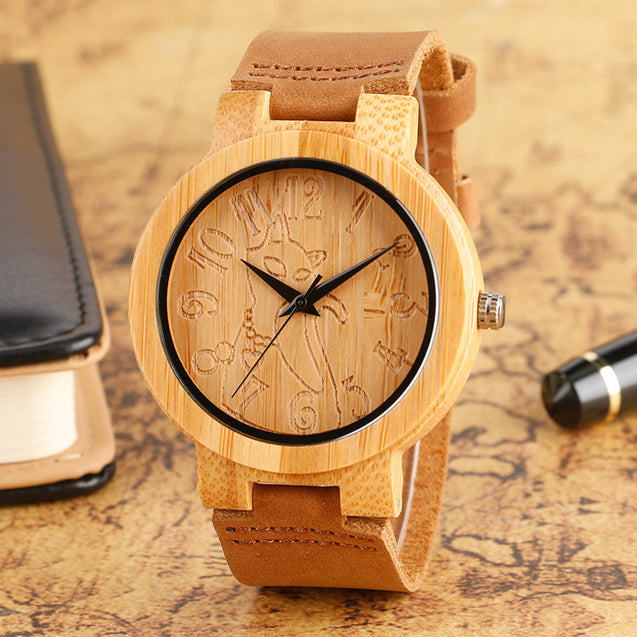 Lovely Hand Carved Wooden Watch for Ladies Leather Band - InnovatoDesign