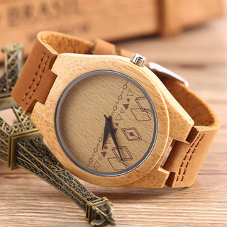 Vintage Hand Made Genuine Bamboo Wooden Watch for Men
