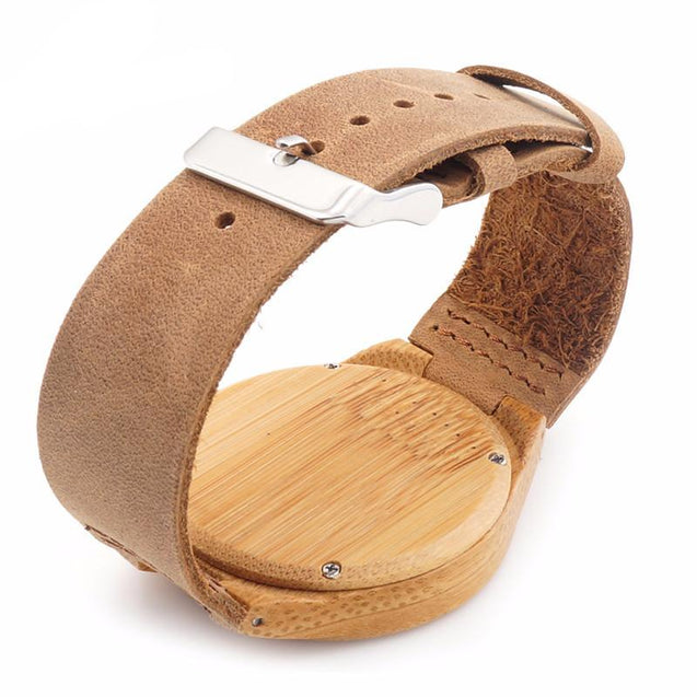 Bamboo Watches for Men and Women With Genuine Cowhide Leather Band