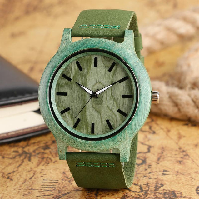 Fashion Men Wooden Watch with Green Strap