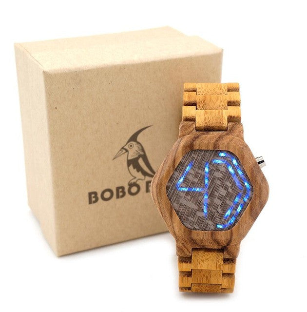 Popular Led Display Wooden Watch Natural Bamboo Wristwatch – InnovatoDesign IS01