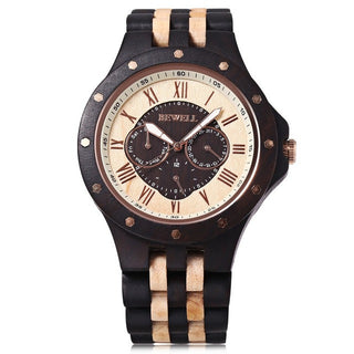 BEWELL Luxury Wooden Watch with Wooden Bracelet and Quartz Display, Analog Dial