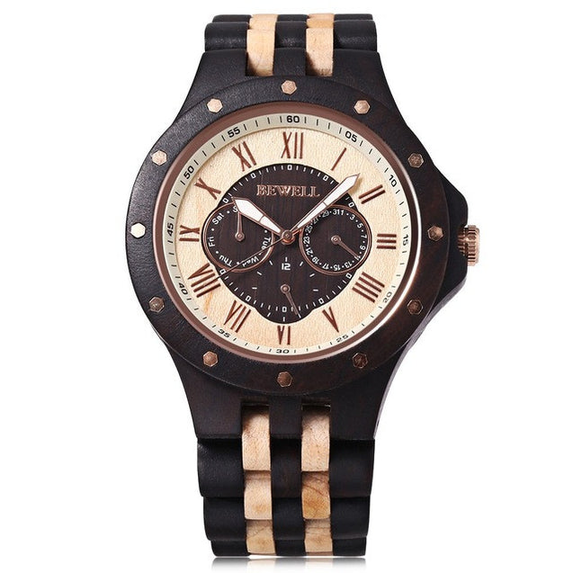 Luxury Wooden Watch with Wooden Bracelet and Quartz Display