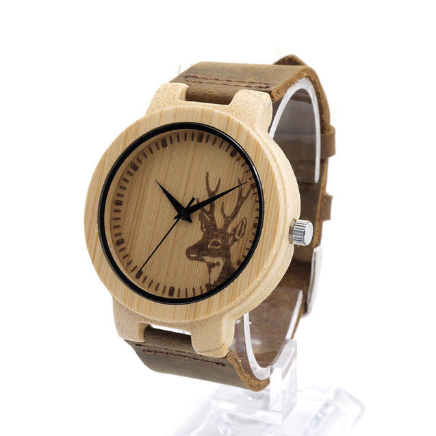 Wooden Bamboo Watch with Deer and Analog Dial Leather Band