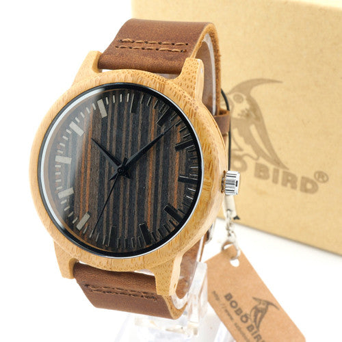 Luxury Bamboo Wooden Watch with Leather Band and Quartz Display