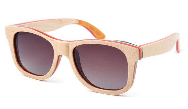 Skateboard Wooden Sunglasses Women Real Bamboo with Case 16 Options