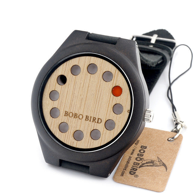 Wooden Watch for Men with Genuine Leather Strap and Gift Box