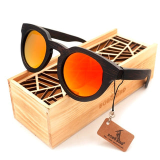 BOBO BIRD Luxury Black Wood Round Sunglasses A18