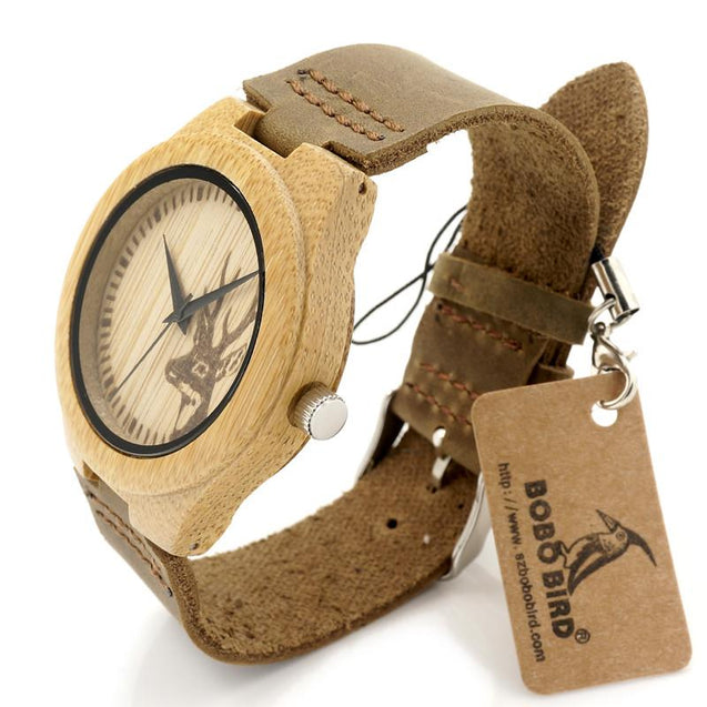 Clean Design Deer Bamboo Wooden Watch with Leather Strap Band