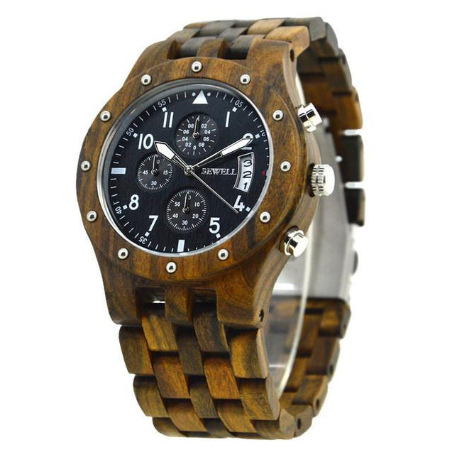 BEWELL Quartz Analog Dial Bamboo Watch with Wooden Strap