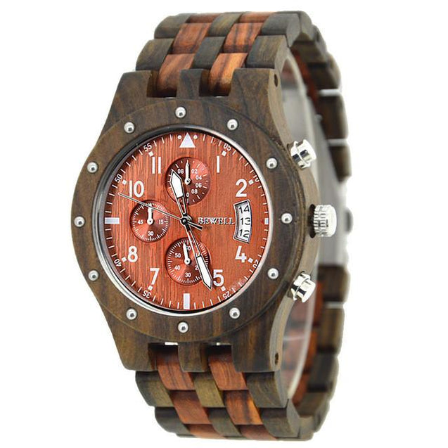 BEWELL Luxury Bamboo Men's Watch with Wooden Band