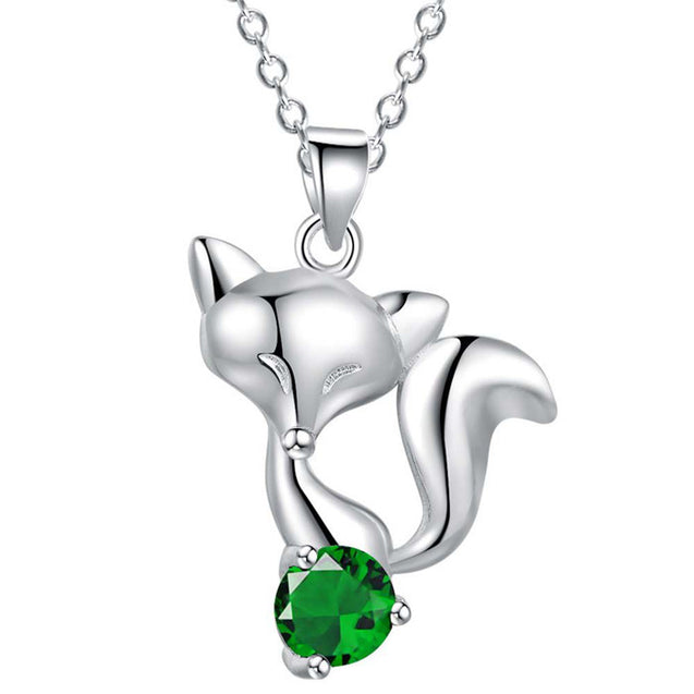 Sterling Silver Fox Pendant Necklace with Zircon Stone - InnovatoDesign