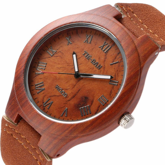 Classical Bamboo Wooden Watch for Ladies Genuine Leather Band