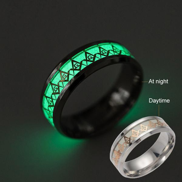 Luxury Glow In The Dark Freemason Ring Silver and Gold Plated Models