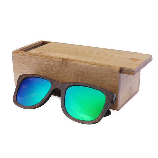 BerWer Real Bamboo Sunglasses Wooden Goggles with Box
