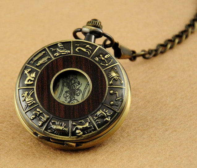Zodiac Antique Wooden Pocket Watch with Chain