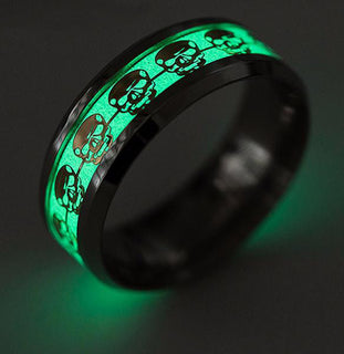 Self Luminous Skull Glow in The Dark Ring Silver and Gold Models 16 Sizes