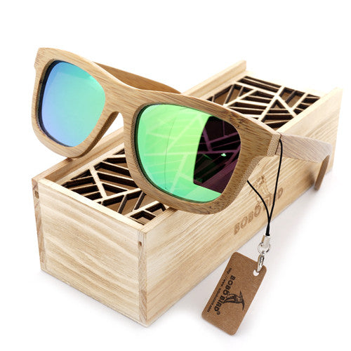Natural Bamboo Wooden Sunglasses with Polarized Mirror Eyewear with Gift Box
